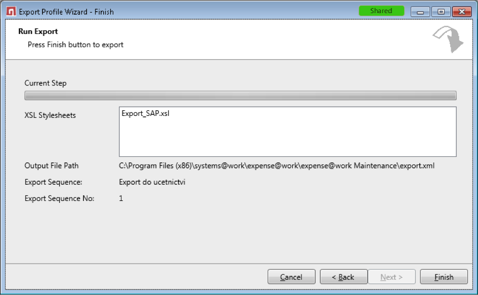 Example of data export from expense@work to